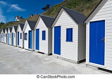 chozas, francia, famoso, trouville, playa, normandía
