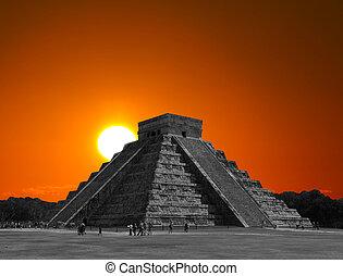 chrám, mexiko, itza, chichen, chrám