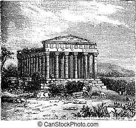 chrám, o, shoda, templum, concordiae, do, agrigente, řím,...