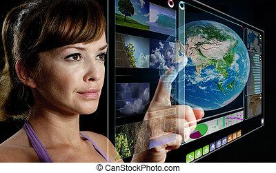 chránit, pracovní, futuristický