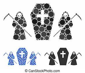 chránit, rakev, scytheman, kruh, mozaika, ikona