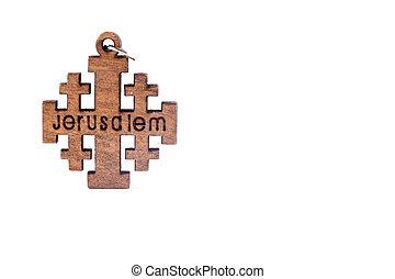 chrétien, bois, croix, fond, petit, blanc