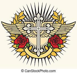 chrétien, croix, ailes, et, roses