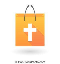 chrétien, croix, sac, orange, achats, icône