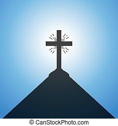 chrétien, cross., vecteur, illustration.