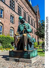 chrétien, denmark., statue, copenhague, hans, andersen