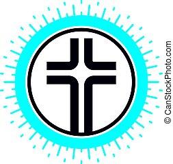 chrétien, dieu, croix, christianisme, religion, vecteur, icon., symbole