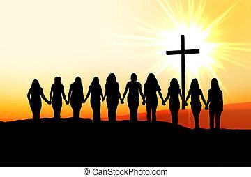 chrétien, femmes, amitié, silhouette.