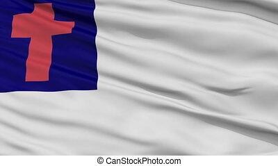 chrétien, haut, drapeau ondulant, fin, religieux