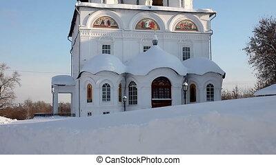 chrétien, hiver, monastère, jour ensoleillé, moule