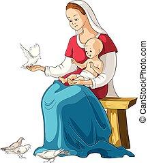 chrétien, isolé, illustration, jésus, vecteur, marie, tenue, mère, bébé, blanc, dessin animé