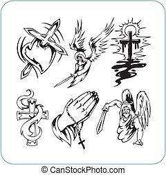 chrétien, religion, -, vecteur, illustration.