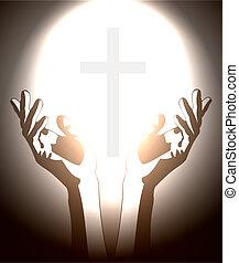 chrétien, silhouette, croix, main