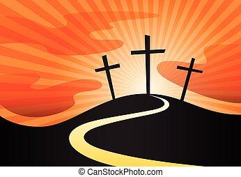 chrétien, symbole, croix, colline, crucifix, silhouette, sunrays.