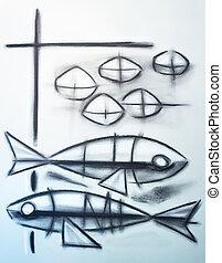 chrétien, symbole, de, deux, poissons, et, cinq, pains