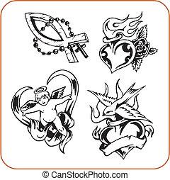 chrétien, symboles, -, vecteur, illustration.