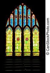 chrétien, taché, hawaï, fenêtre verre, église