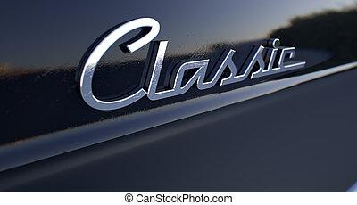 chróm, vůz, symbol, klasik
