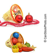 Chriatmas baubles, star, golden bell ,gift box isolated on the wh