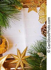 chrismas, decorações, e, papel, página