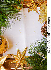chrismas decorations and paper page