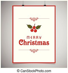 Chrismtas card with frame and cherries