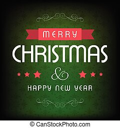 Chrismtas card with green pattern background