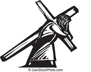 Christ and Cross - Jesus Christ bearing the cross on his...