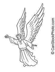 christ., angyal, announces, karácsony, születés, story.