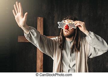 christ, atteindre, lunettes, jésus, fête, distribuer