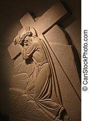 Christ bearing the cross. Sculture of Saint Joseph's Oratory...