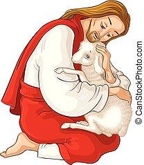 christ., berger, parabole, bon, secourir, perdu, sheep., attrapé, isolé, jésus, agneau, épines, blanc, histoire