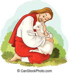 christ., berger, parabole, bon, secourir, perdu, sheep., attrapé, jésus, agneau, épines, histoire