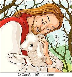 christ., berger, parabole, bon, secourir, perdu, sheep., attrapé, jésus, agneau, épines, portrait, histoire