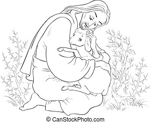 christ., berger, parabole, bon, secourir, perdu, sheep., attrapé, jésus, coloration, agneau, épines, page, histoire