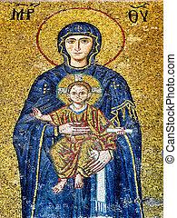 Christ Child mosaic - Virgin Mary holding the Christ Child
