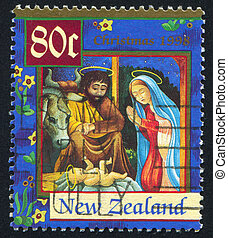 Christ Child - NEW ZEALAND - CIRCA 1998: stamp printed by...