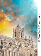 Christ Church Cathedral in Dublin, Ireland at winter sunset