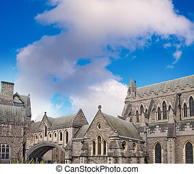 Christ Church Cathedral in Dublin, Ireland in winter