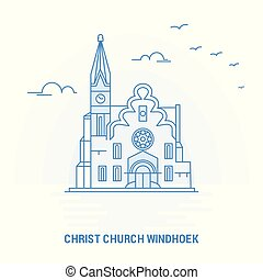 CHRIST CHURCH WINDHOEK Blue Landmark. Creative background and Poster Template
