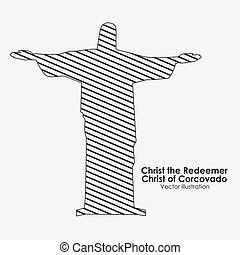 christ of corcovado over white background vector...
