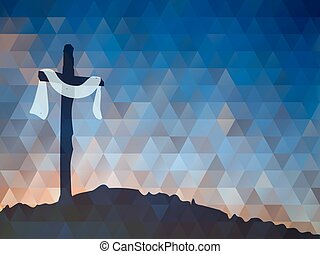 christ., cross., illustr, escena, jesús, acuarela, vector,...