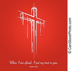 Christ crucifix cross symbol sketch on red background. Psalm...