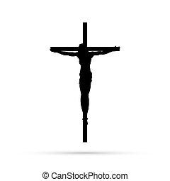 christ, crucifixion, fond, blanc, silhouette, jésus