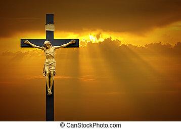 christ de jesus sobre la cruz, encima, salida del sol, plano de fondo