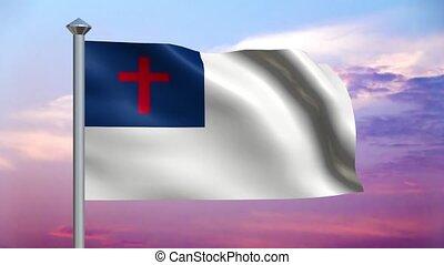 christ, fahne, und, bunte, himmelsgewölbe, klo