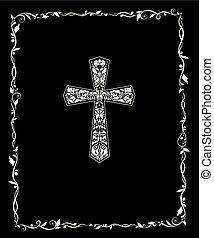 christ, frame., titel, weinlese, kreuz, schwarz, aufwendig, blumen-, weißes