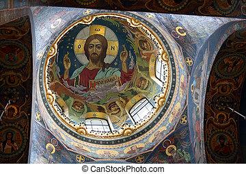christ, fresque, dans, dôme, coupole