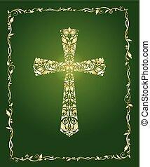 christ, gold, weinlese, rahmen, aufwendig, kreuz, grüner hintergrund, muster, blumen-