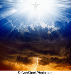 Christ, heaven and hell - Jesus Christ in blue sky with...